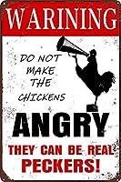 レトロな鶏籠マーク、警告鶏怒りの壁マーク、面白い鶏金属錫壁装飾マークは農家のドアフェンス壁、8x12インチ
