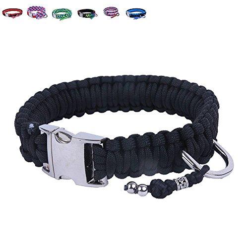BelloBand Hundeleine Set aus Paracord / Führleine mit Hundehalsband für mittelgroße Hunde / Farbe: Schwarz / 40cm ø