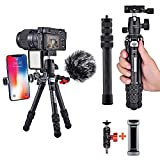 Carbon Fiber Tripod, COMAN Ultra Compact Lightweight Camera Tripod with 360° Panorama Ball Head for Cellphone, Camera and Gopro, Ideal for Vlog, YouTube or Travel, Phone Clip and Magic arm Included