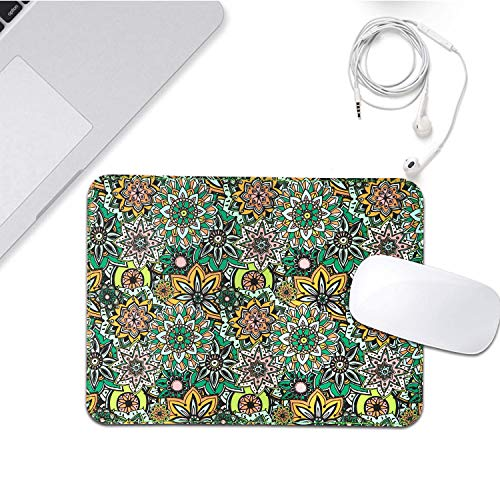 Mouse Pads 2 Pack - PU Leather & Cork Mouse pad, Floral & Black Mouse Pad Mat, Natural Cork Base, Stitched Edge, Writing Mousepad for Laptop, Computer, Office & Home Photo #2