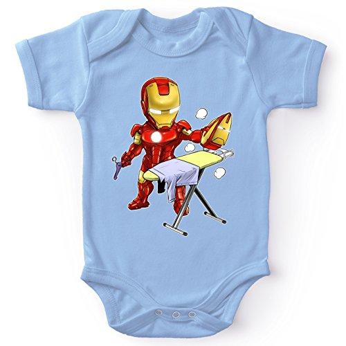 Okiwoki Body bébé Manches Courtes Garçon Bleu Parodie Iron Man - Tony Stark - Le Super Héros du Quotidien !! (Body bébé de qualité supérieure de Taille 12 Mois - imprimé en France)