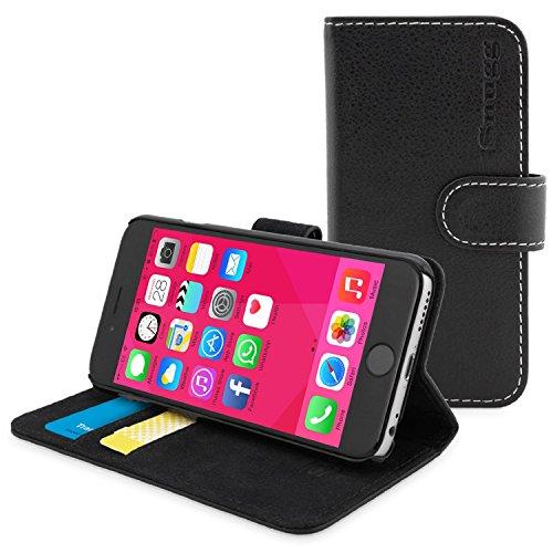 英国Snugg iPhone6用 PUレザー 手帳型 ケース カバー 生涯補償付き(ブラック)