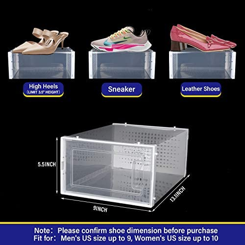 YOLOPARK Shoe Box, 12 Pack Stackable Shoe Container with Drawer Type Front Opening, Easy to Assemble Shoe Case, 13.1 x 9 x 5.5 Inches Sneaker Storage Organizer for Size Up to US Men's 9 Women's 10