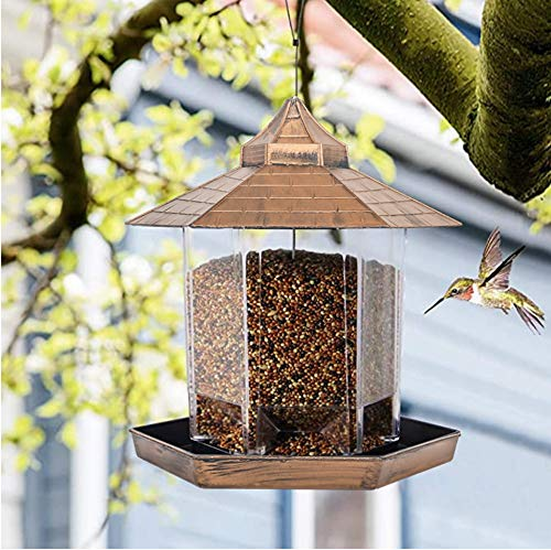 Cishbsoal 360°Panorama Wild Bird Feeder, with Roof Hanging for Garden Decoration and Bird Watching for Bird Lover and Kids