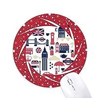 愛心臓ロンドンブリッジイギリスビッグベン、ロンドンアイイラストパターン 円形滑りゴムの赤のホイールパッド