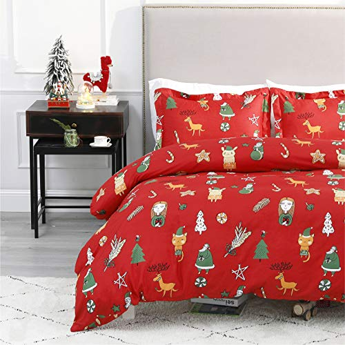"Bedsure Christmas Duvet Cover Set, 3 Pieces Queen Size Comforter Cover Set 90""x90"", Super Soft New Year Holiday Bedding Set, Red Green Elves"
