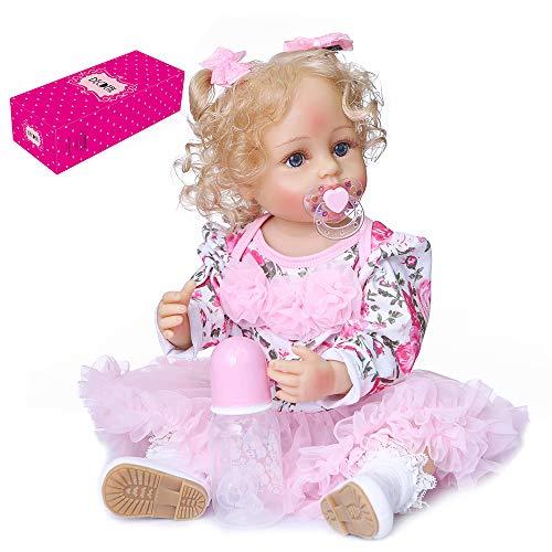 JJone Bonecos renascidos de 22 polegadas de silicone de corpo inteiro realista e realistas bebê boneca de criança de toque real com cabelo loiro encaracolado enraizado à mão vestido de tule floral