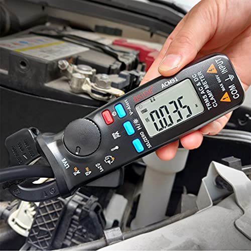1mA DC Clamp Meter True RMS 6000 Counts Auto-Ranging Digital Multimeter Capacitance Temperature Ohm Live Check V-Alert Low Impedance Voltage Tester for HVAC Automotive