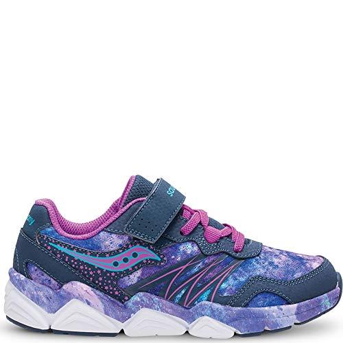 Saucony Girls' Kotaro Flash A/C Sneaker, Navy/Purple, 3 Wide US Little Kid