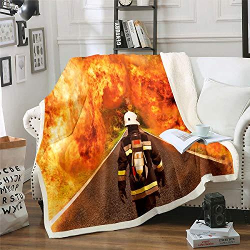 Feuerwehrmann Kuscheldecke Feuerwehrmann Bedruckte Decke für Sofa Couch Bett Brennendes Feuer Fleece Wohndecke Feuerwehr Held Warm Couchdecke Raumdekor Plüsch Flanell Fleecedecke 150x200cm