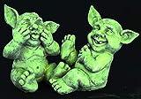 GeKi Trend GNOME - Juego de 2 figuras de jardín divertidas, resistentes a las heladas, aspecto de piedra fluorescente