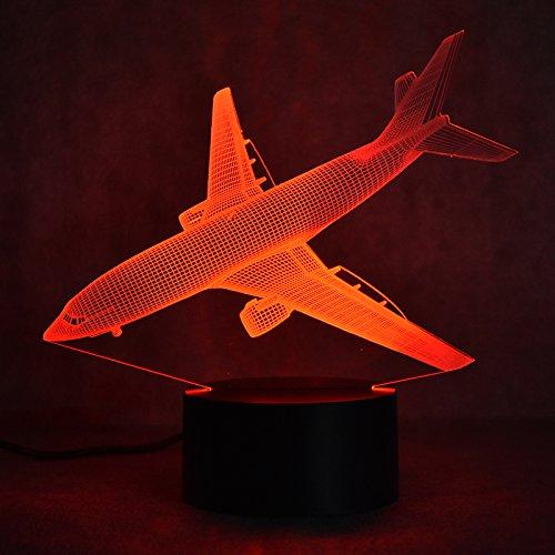 3D Flieger Flugzeug Lampe optische Illusion Nachtlicht, 7 Farbwechsel Touch Switch Tisch Schreibtisch Dekoration Lampen perfekte Weihnachtsgeschenk mit Acryl Flat ABS Base USB Spielzeug