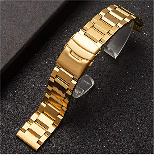 Pulsera de reloj de acero inoxidable, 18 mm, 20 mm, 22 mm, 24 mm, acero inoxidable, pulsera de metal macizo, para hombres y mujeres, accesorios, 20 cm, color dorado