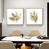 Goldene Pflanzen, Heimdekoration, Wandkunst,
