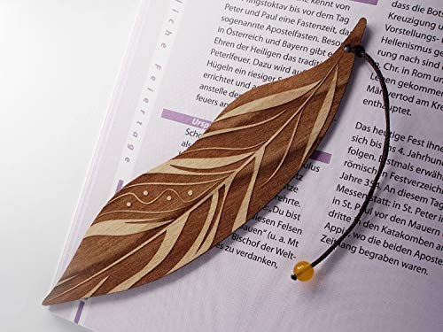 Personalisiertes Lesezeichen aus Holz, Feder, MinaturArt