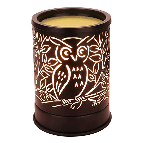 Wax Warmer for Scented Wax, Electric Wax Melter Candle Warmer Metal Owl Design Essential Oil Burner for Home Decor