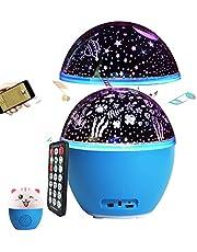 16 gekleurde sterrenhemel projector lamp kinderen 3-in-1 draaibaar oceaan nachtlampje sterrenhemel baby met muziek USB oplaadbaar Bluetooth nachtlampje projector baby sterren nachtlampje kinderen (blauw)