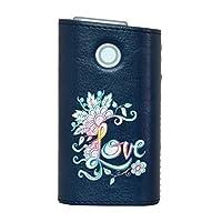glo グロー グロウ 専用 レザーケース レザーカバー タバコ ケース カバー 合皮 ハードケース カバー 収納 デザイン 革 皮 BLUE ブルー LOVE カラフル レイボー 014847