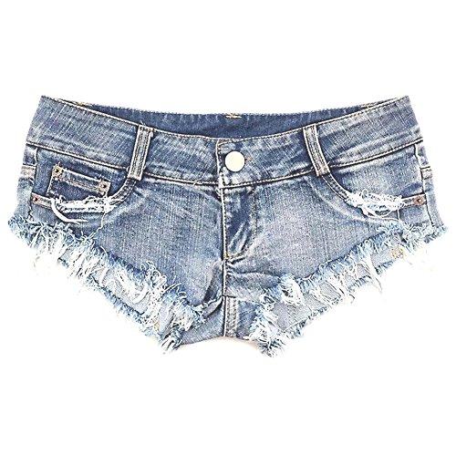NW Women's Low Waist Sexy Denim Short Hot Pants Sexy Mini Jeans Shorts, Blue, Large