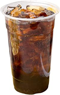 [20 oz | 100 Pack] Clear Plastic Cups Disposable Drinking Cup with Dome Lids, BPA Free - Comes with Free 100 Straws