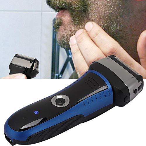 Rasoir à barbe électrique pour hommes, outil de rasage à barbe étanche rechargeable USB, affichage à LED rasoir sans cheveux humide et sec (bleu)