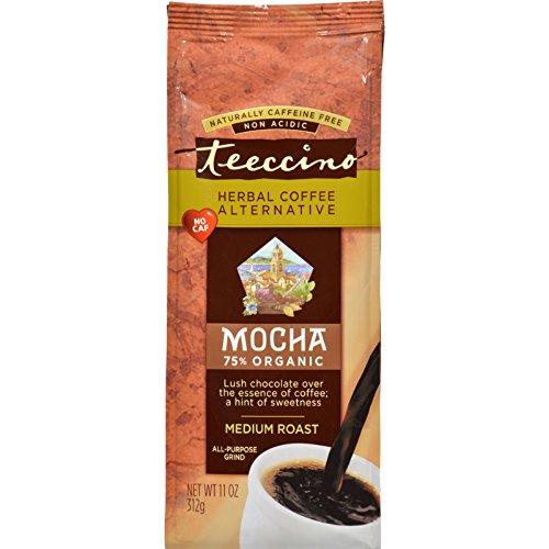 Pack of 6 x Teeccino Mediterranean Herbal Coffee - Mocha - Medium Roast - Caffeine Free - 11 oz