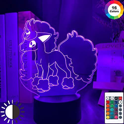 KangYD 3D Illusion Nachtlampe Pokemon Figur, LED Optical Illusion Light, C - Berühren Sie Crack White (7 Farben), Office Decor Lampe, Stimmungslampe, Kreatives Licht, Nachttischlampe
