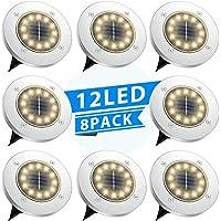 8-Pack TESECU Solar LED Ground Lights (Warm White)