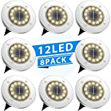TESECU Solar Ground Lights 12 LED Garden Solar Lights Outdoor Pathway Solar Disk Lights Landscape Lighting Waterproof for Lawn Pathway Patio Yard Deck Driveway Walkway- Warm White(8 Pack)