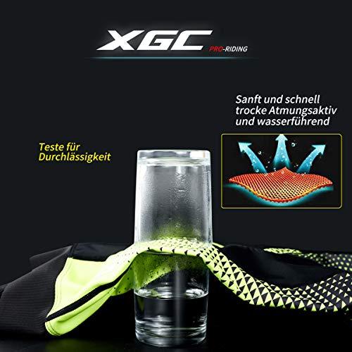 XGC Herren Kurze Radlerhose und Radunterhose Radsportshorts Fahrradhose für Männer elastische atmungsaktive 4D Schwamm Sitzpolster mit Einer hohen Dichte (S, Black_Green) - 2