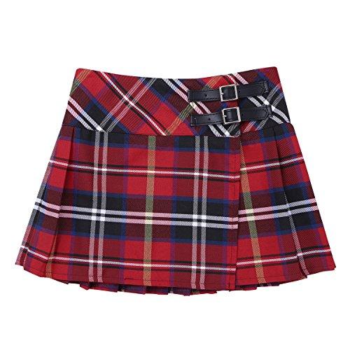 Agoky Falda Niña Ropa Verano Escocesas Cuadros Escocia Falda Plisada Básica con Hebilla Uniforme Escolar Algodón Tartán para Niñas Chicas 4 a 14 Años