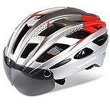 Shinmax Casco Bici con Luce di LED,Certificato CE, Casco con Visiera Magnetica Staccabile Shield Casco da Bici Leggero Casco integralmente Adulto da Bicicletta Skateboarding Sci & Snowboard NR-096