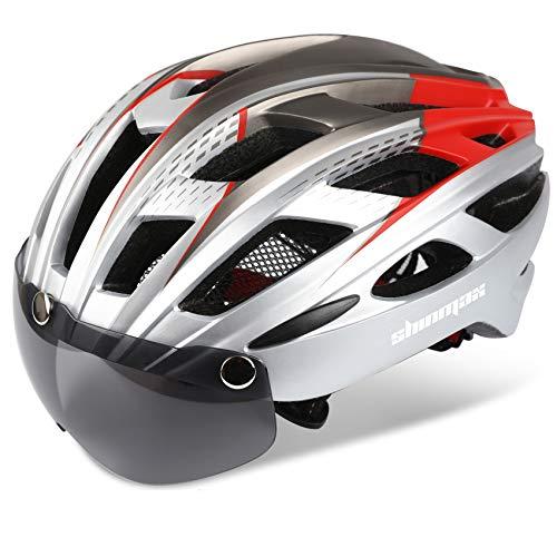 Casco bicicleta/Casco Bicic con luz,Certificado CE, casco bicicleta adulto con Visera Magnética Desmontable Gafas de Protección Super Light Casco Integral de Bicicleta Skateboarding Ski & Snowboar