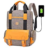 GQ-BAG Lightweight Laptop Backpack Casual and Durable Rucksack College Daypack with USB Charging Interface for Men and Women,Brown