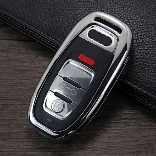 Carcasa de aleación de Zinc para Llave remota de Coche para Audi A1 A3 A4 A5 A6 A7 A8 Quattro Q3 Q5 Q7 B6 B7 B8 B9 C5 C6 C7 8V 8P 8L TT A2 S4 AColorChrome