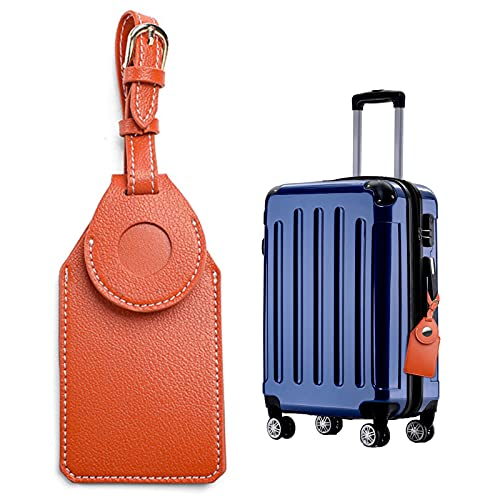 Suweir Etiqueta de piel para maleta antirrobo, etiqueta para equipaje con etiqueta para dirección, etiqueta para equipaje para la cubierta del rastreador Bluetooth (no incluye rastreador).
