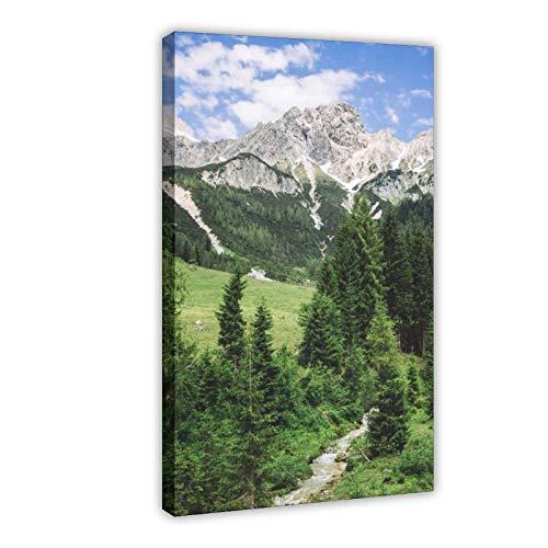 Poster sur toile Paysage naturel des Alpes d'été Décoration de chambre à coucher, de bureau, de chambre, cadeau 20 × 30 cm