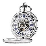 TREEWETO - Orologio da tasca con catena da uomo, numeri romani, stile retrò, con incisione, colore: argento