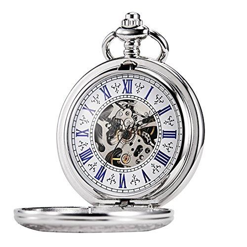 TREEWETO Taschenuhr mit Kette Herren Analog Handaufzug Antik Skelett Lupe Silber