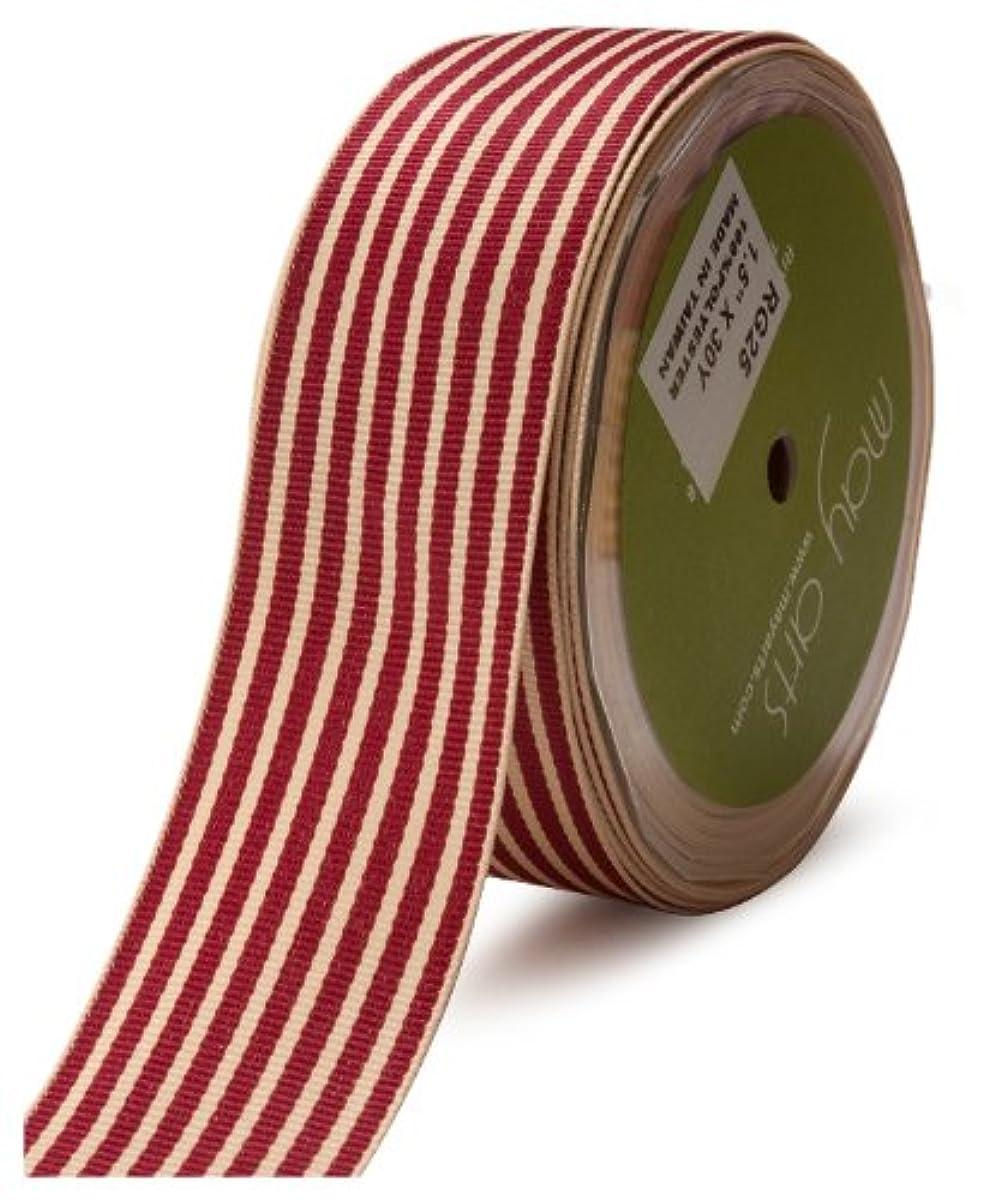 May Arts 1-1/2-Inch Wide Ribbon, Burgundy Grosgrain Stripe