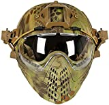 PJ Tactical Fast Helmet, Pilot Protective Helmet, Airsoft Paintball Helmet with Removable mask and Goggles