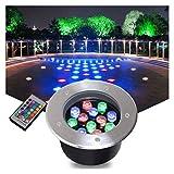 AMDHZ Faretti Esterno LED Colorati Incasso RGB con Telecomando calpestabile IP67 Impermeabile all'aperto Illuminazione del Paesaggio Giardino, Parco, Prato, Albero Illuminazione, 8 Potenza