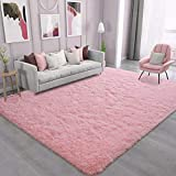 Ompaa Soft Fluffy Area Rug for Living Room Bedroom, 5x8 Pink Plush Shag Rugs, Fuzzy Shaggy Accent Carpets for Kids Girls Rooms, Modern Apartment Nursery Dorm Indoor Furry Decor