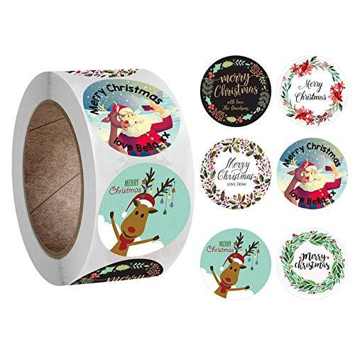 BLOUR Neue Rolle Pack Aufkleber Weihnachtsferien Geschenk Dekorieren Geschenk 1 Rolle Aufkleber Frohe Weihnachten Weihnachtsbaum Klebeband Paket Label # yl10