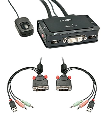 Lindy 42341 KVM Switch Compact USB Audio DVI, 2 Porte