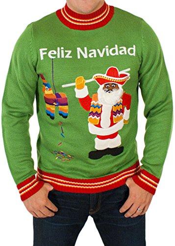 Festified Men's Feliz Navidad Ugly Christmas Sweater in Green (Large)