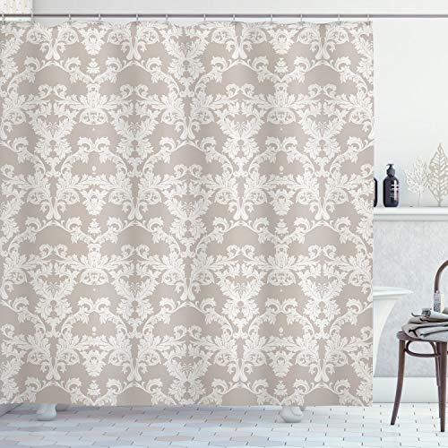 ABAKUHAUS Taupe Douchegordijn, Damast Nature, stoffen badkamerdecoratieset met haakjes, 175 x 180 cm, Taupe en White