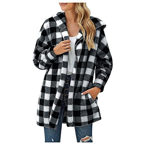 Briskorry Damen Hoodies Jacke Fleece Kariert Open Front Hooded Cardigan Outwear Langarm Jacke Mäntel mit Taschen Schwarz Rot Tops