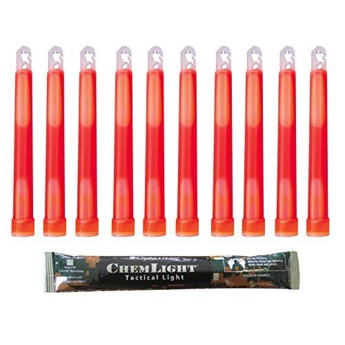 Cyalume Leuchtstab 15 cm, Original Militärische ChemLight Lightsticks In Rot (10-er Pack), Hohe Brenndauer Von 12 Stunden, 100{ebd3f0c90d570109e676a43ab49f169da5eb555dba95f2ed7ad299529cf44d4f} Konform Mit Den NATO-Spezifikationen