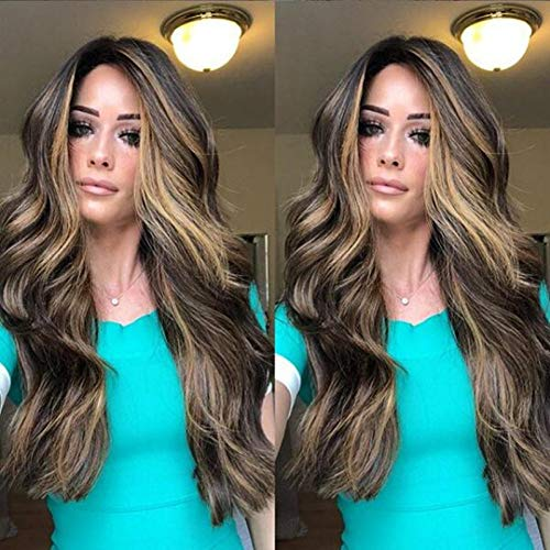 XIAOXX Wählen Sie eine gefärbte Perücke, europäische und amerikanische Modeperücken, Damen, langes lockiges Haar, große Wellen, goldbraunes Farbverlauf